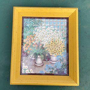 Vintage Framed Floral Art Print Kitschy